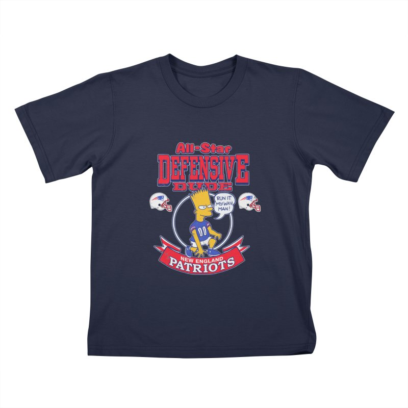 New England Defensive Dude Kids T-Shirt by jublin's Artist Shop