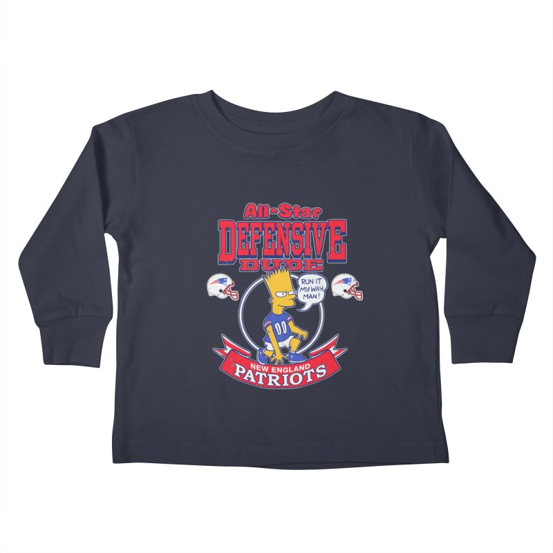New England Defensive Dude Kids Toddler Longsleeve T-Shirt by jublin's Artist Shop