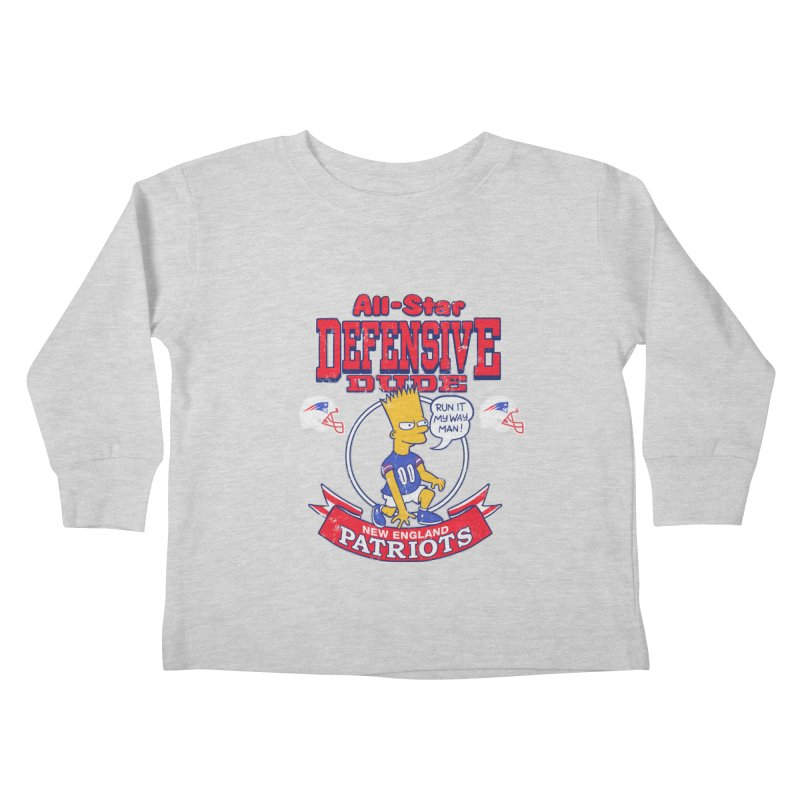 New England Defensive Dude Kids Toddler Longsleeve T-Shirt by jublin's Artist Shop