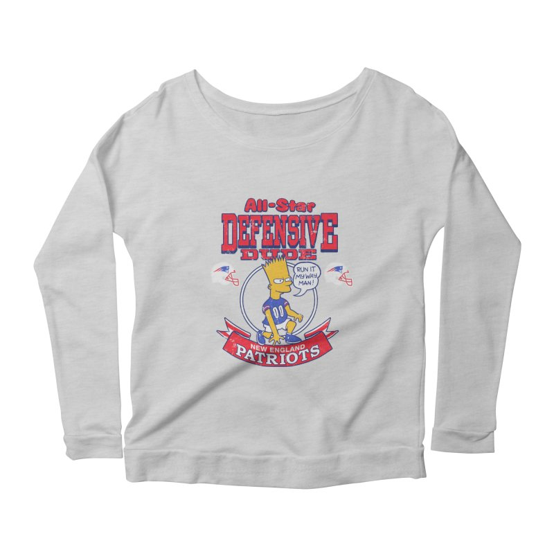 New England Defensive Dude Women's Scoop Neck Longsleeve T-Shirt by jublin's Artist Shop