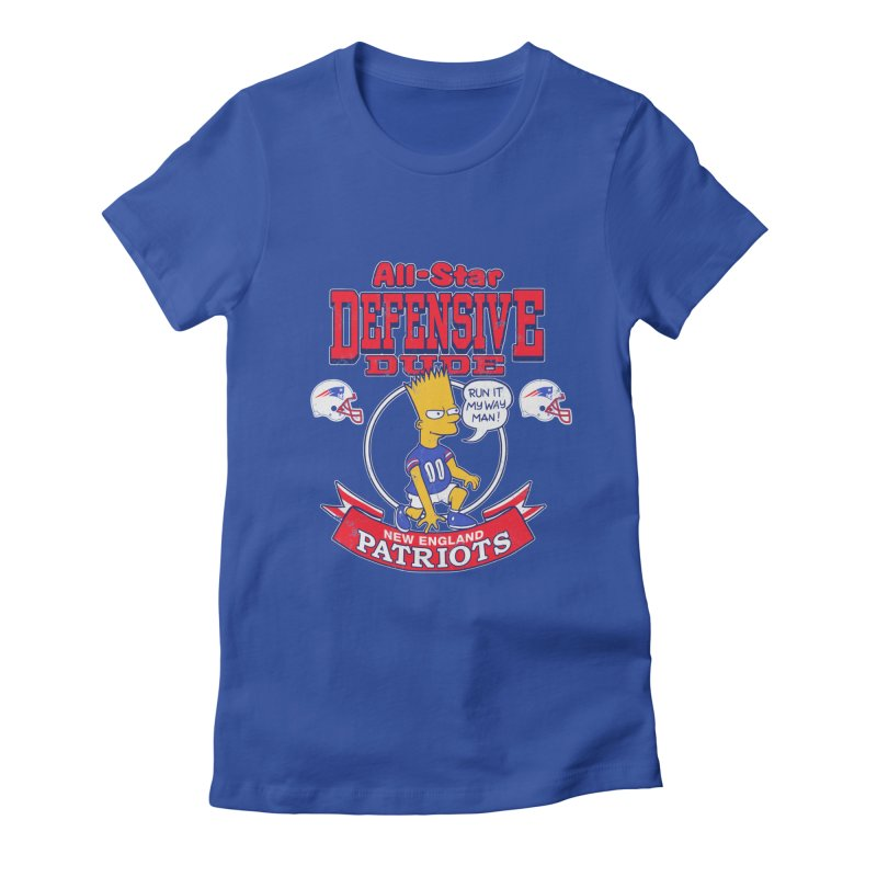 New England Defensive Dude Women's Fitted T-Shirt by jublin's Artist Shop