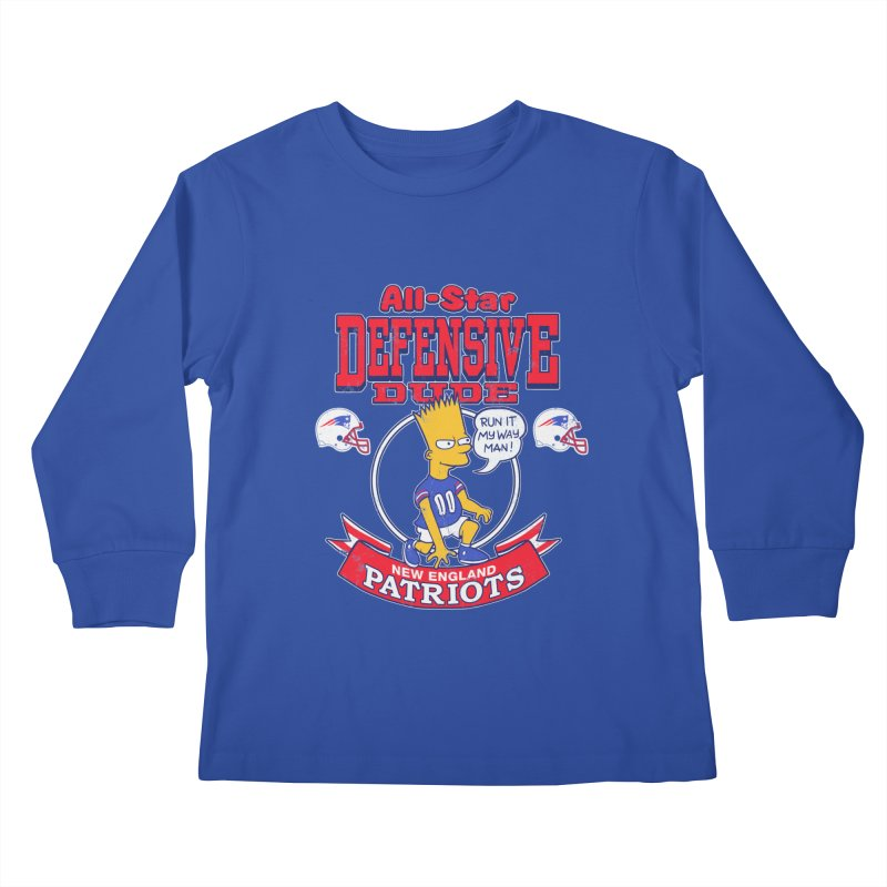 New England Defensive Dude Kids Longsleeve T-Shirt by jublin's Artist Shop