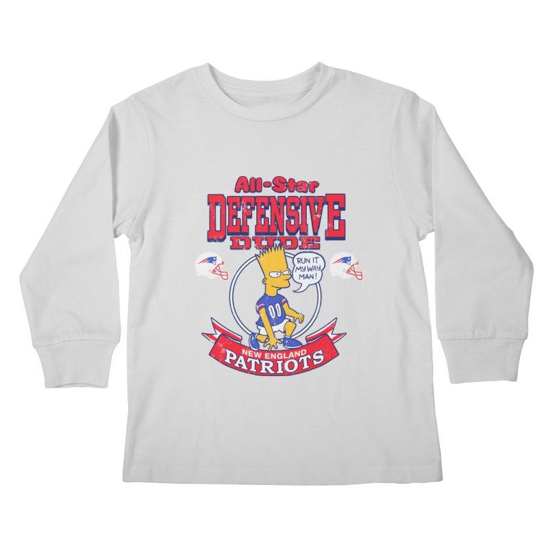 New England Defensive Dude Kids Longsleeve T-Shirt by jublin's Artist Shop