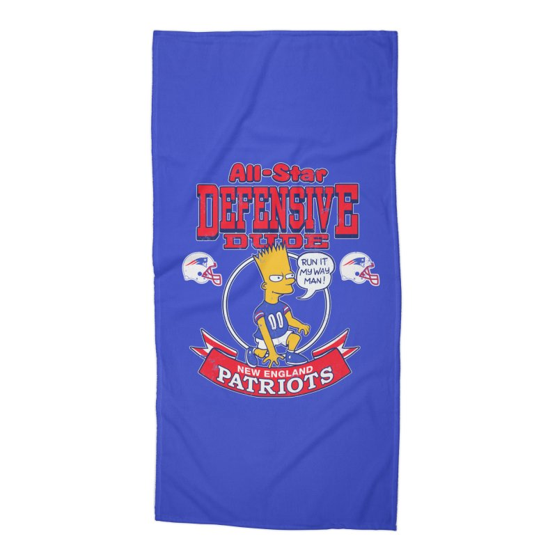 New England Defensive Dude Accessories Beach Towel by jublin's Artist Shop