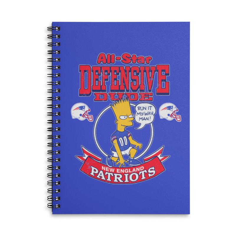 New England Defensive Dude Accessories Lined Spiral Notebook by jublin's Artist Shop