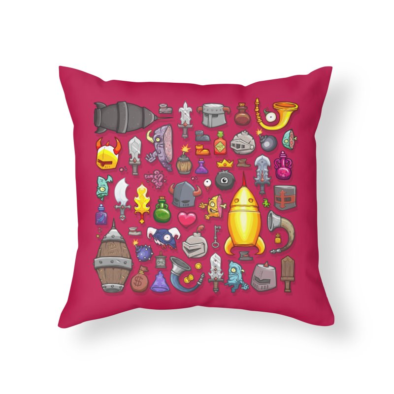 Knightmare Tower - Inventory in Throw Pillow by The Juicy Beast shop!