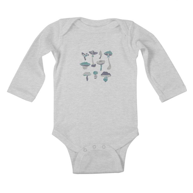 mushrooms II Kids Baby Longsleeve Bodysuit by julaika's Artist Shop