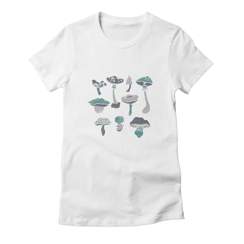 mushrooms II Women's Fitted T-Shirt by julaika's Artist Shop