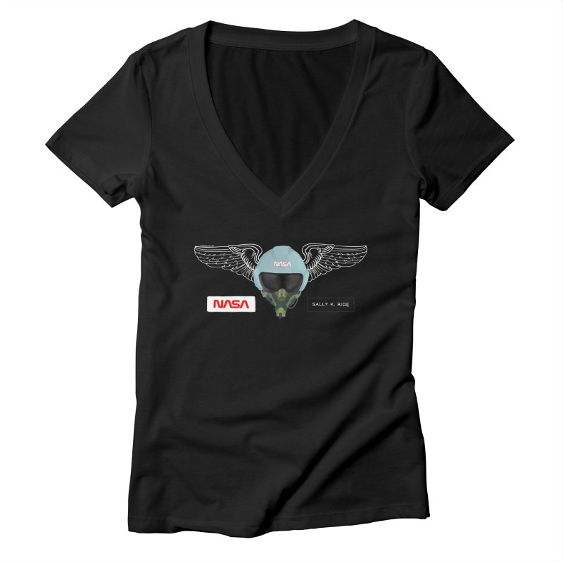 Sally Ride Tribute Women's V-Neck by Juleah Kaliski Designs