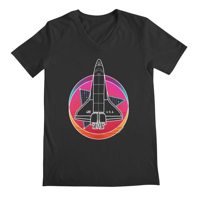 Synthwave Shuttle Men's V-Neck by Juleah Kaliski Designs