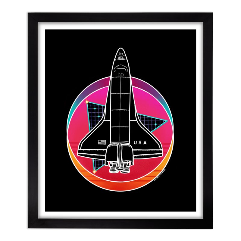 Synthwave Shuttle Home Framed Fine Art Print by Juleah Kaliski Designs