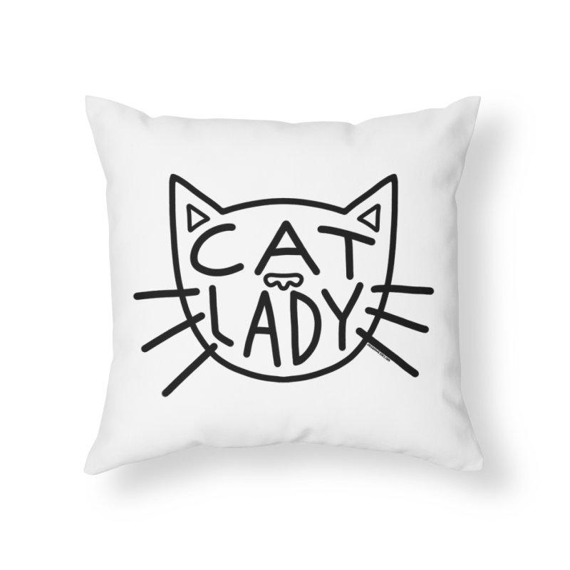Cat Lady Home Throw Pillow by Juleah Kaliski Designs