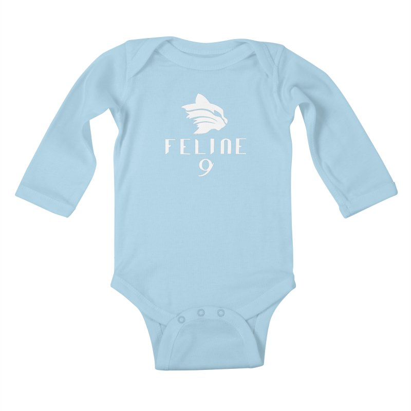 Feline 9 - WHITE Kids Baby Longsleeve Bodysuit by Juleah Kaliski Designs