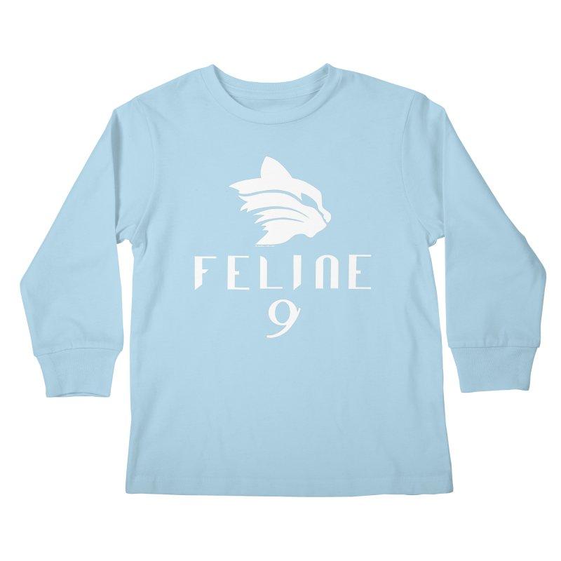 Feline 9 - WHITE Kids Longsleeve T-Shirt by Juleah Kaliski Designs