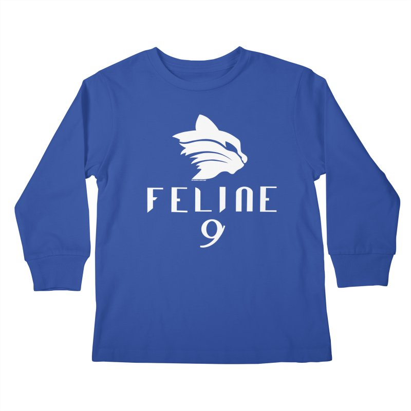 Feline 9 - WHITE Kids Longsleeve T-Shirt by Juleah Kaliski Designs