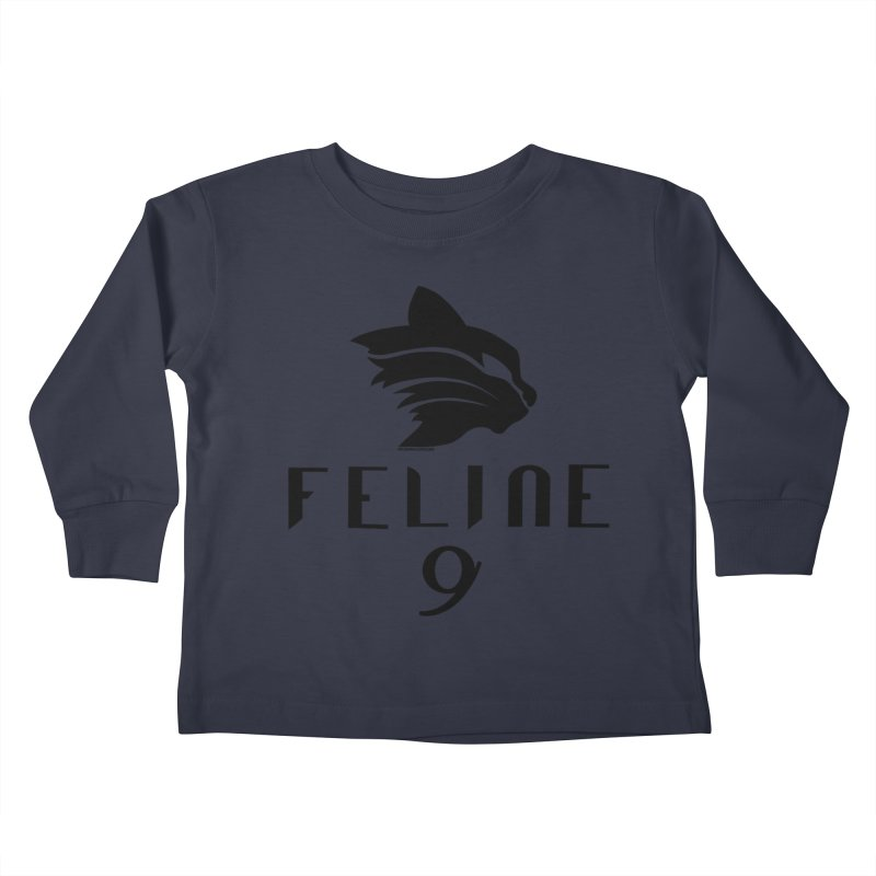 Feline 9 - BLACK Kids Toddler Longsleeve T-Shirt by Juleah Kaliski Designs
