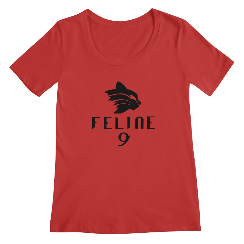 Feline 9 - BLACK Women's Regular Scoop Neck by Juleah Kaliski Designs