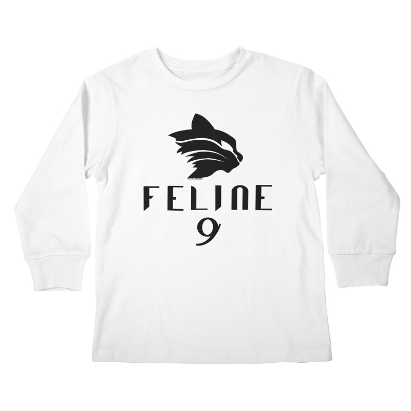 Feline 9 - BLACK Kids Longsleeve T-Shirt by Juleah Kaliski Designs