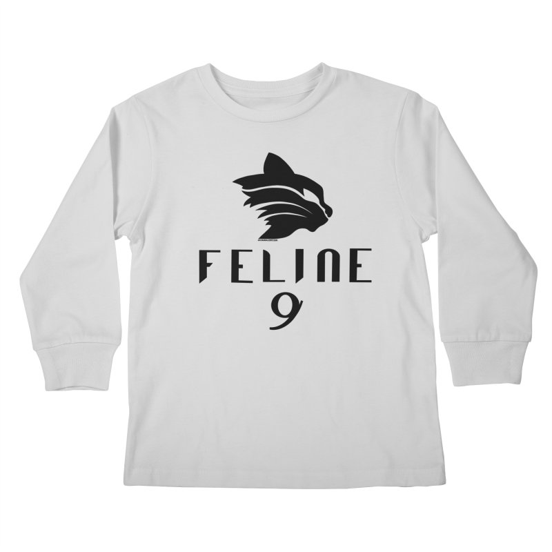 Feline 9 - BLACK Kids Longsleeve T-Shirt by Juleah Kaliski Designs