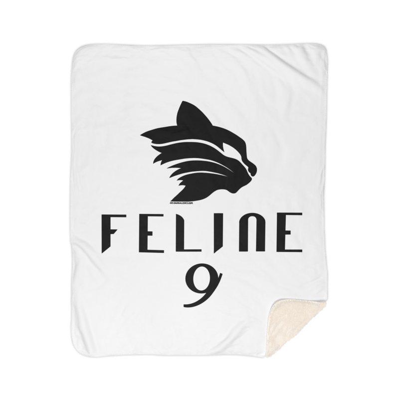 Feline 9 - BLACK Home Sherpa Blanket Blanket by Juleah Kaliski Designs
