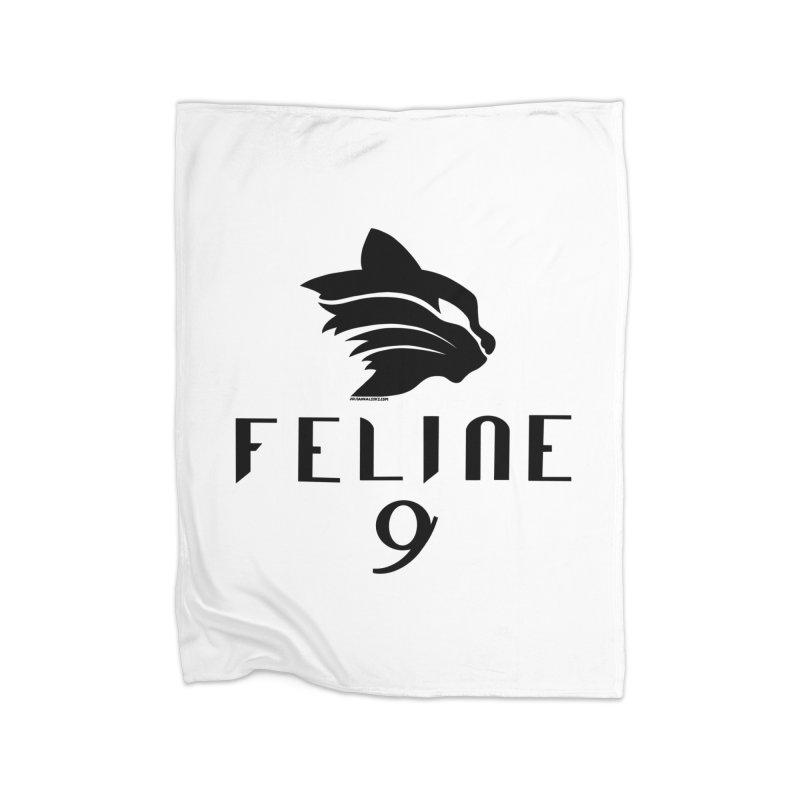 Feline 9 - BLACK Home Fleece Blanket Blanket by Juleah Kaliski Designs