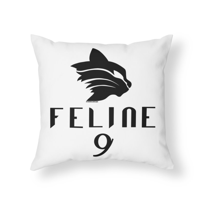 Feline 9 - BLACK Home Throw Pillow by Juleah Kaliski Designs