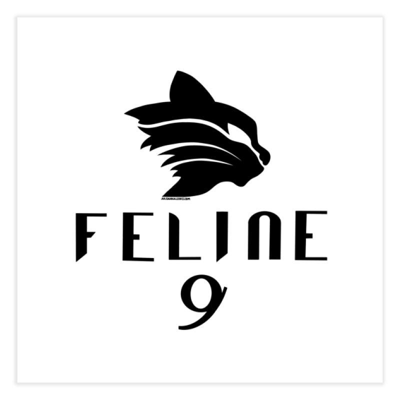 Feline 9 - BLACK Home Fine Art Print by Juleah Kaliski Designs