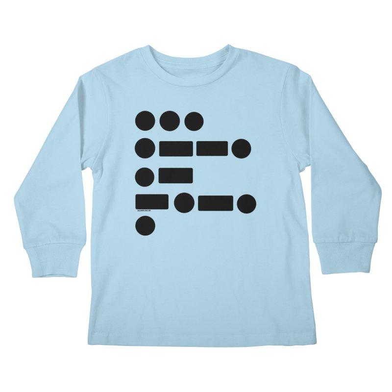 S P A C E Morse Code Kids Longsleeve T-Shirt by Juleah Kaliski Designs