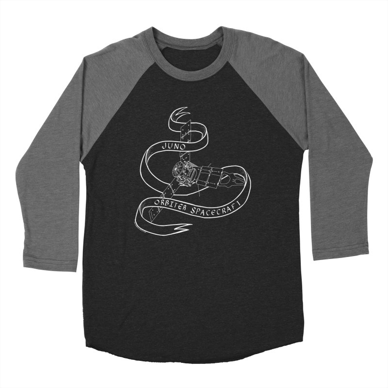 Juno Orbiter Spacecraft Men's Baseball Triblend Longsleeve T-Shirt by Juleah Kaliski Designs