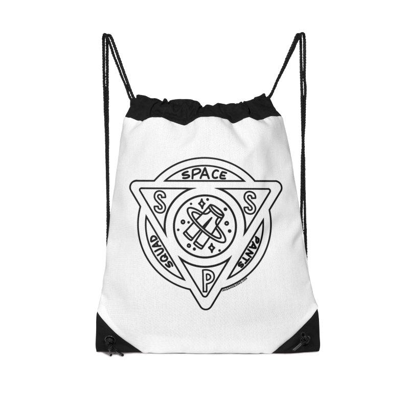 Space Pants Squad (B&W) Accessories Drawstring Bag Bag by Juleah Kaliski Designs