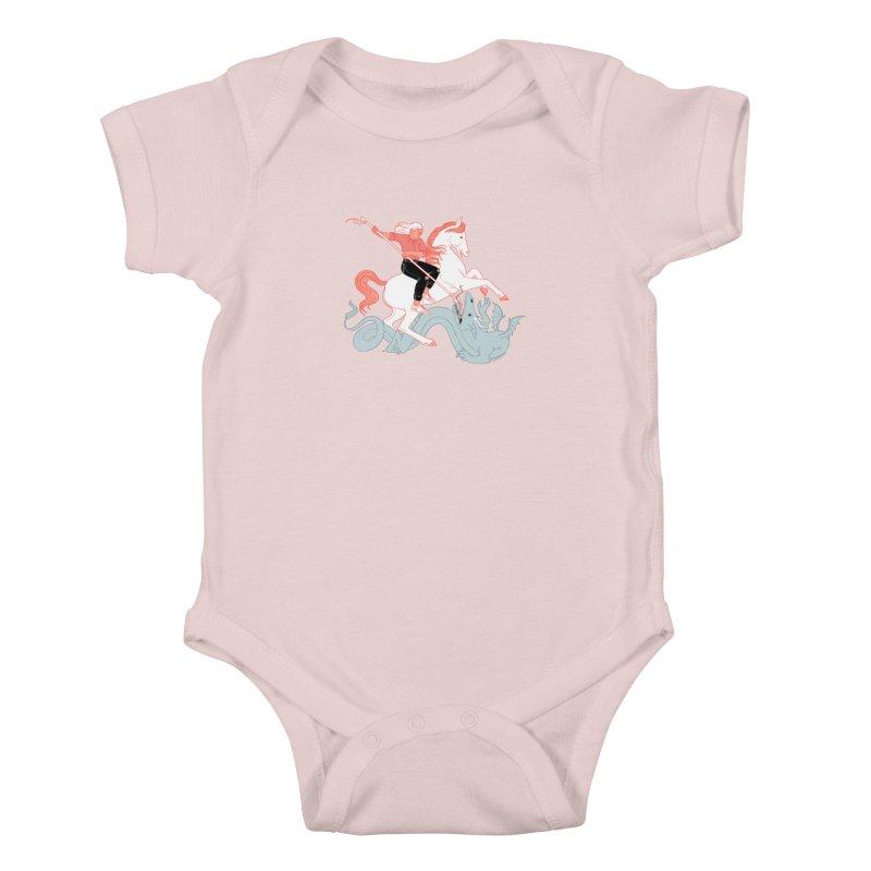 St. Georgia Slaying the Dragon Kids Baby Bodysuit by Julia Bernhard