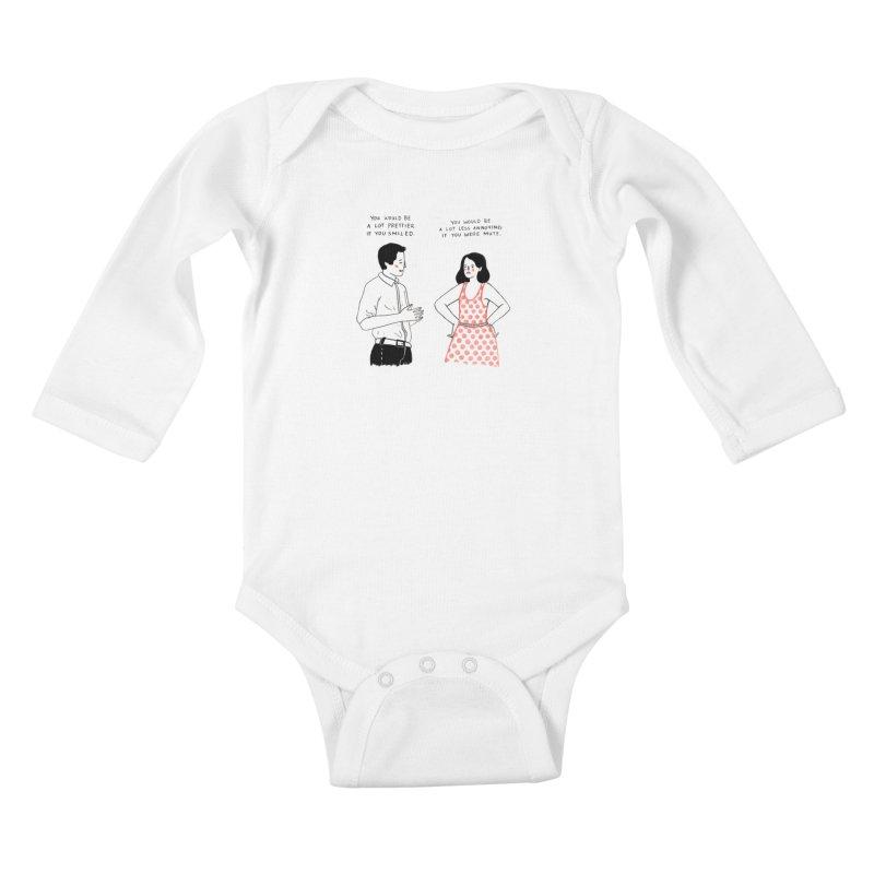 Smile! Kids Baby Longsleeve Bodysuit by juliabernhard's Artist Shop