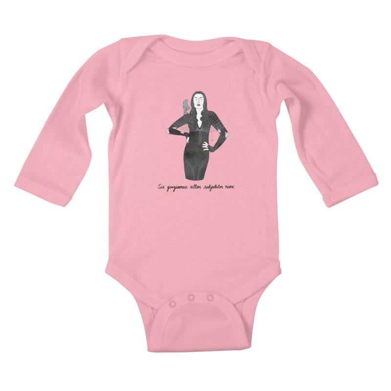 Morticia Addams Kids Baby Longsleeve Bodysuit by Julia Bernhard