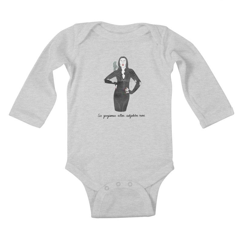 Morticia Addams Kids Baby Longsleeve Bodysuit by juliabernhard's Artist Shop
