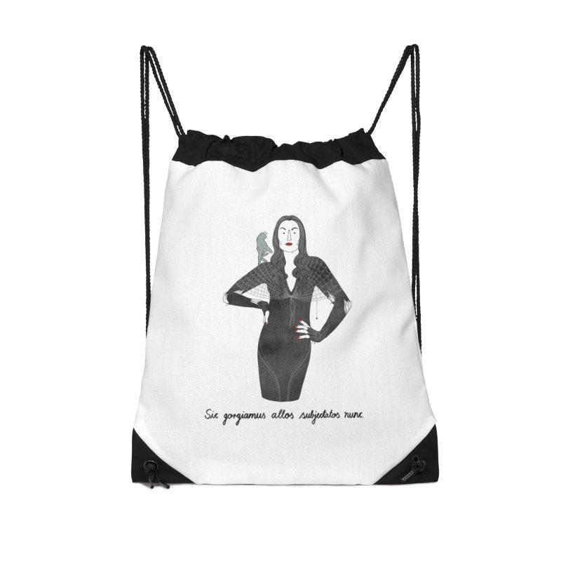 Morticia Addams Accessories Drawstring Bag Bag by Julia Bernhard