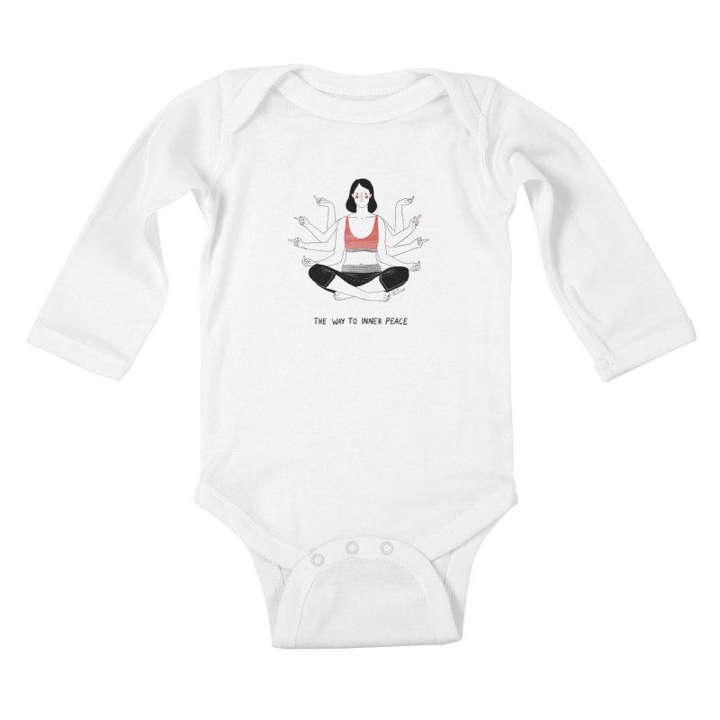 Inner Peace Kids Baby Longsleeve Bodysuit by Julia Bernhard