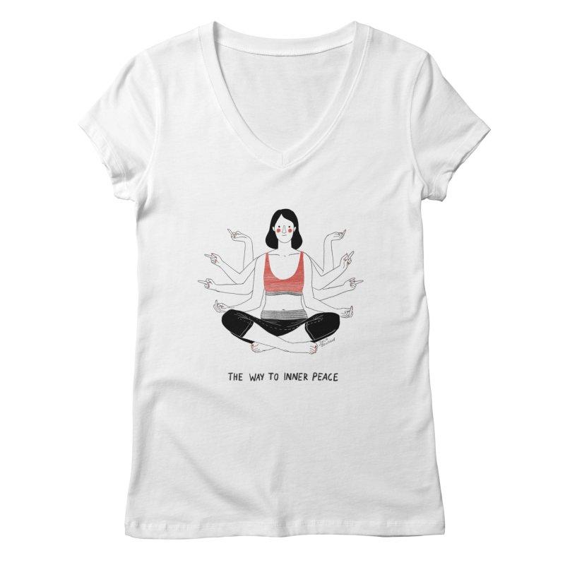 Inner Peace Women's Regular V-Neck by Julia Bernhard