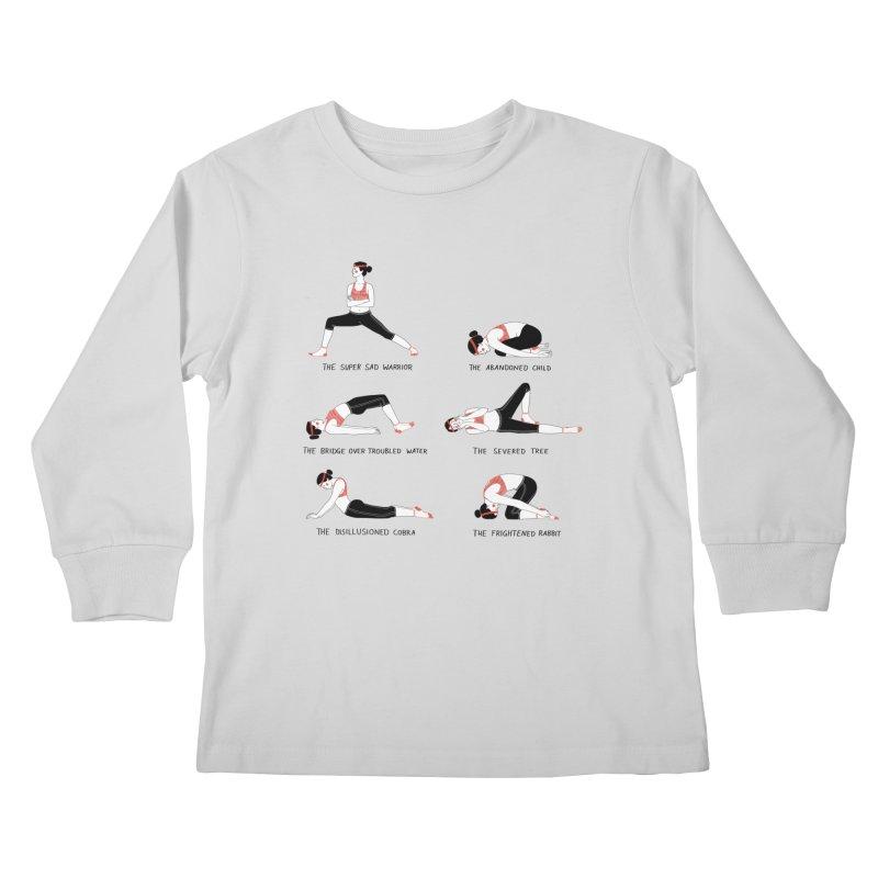 Yoga for Sad People Kids Longsleeve T-Shirt by Julia Bernhard