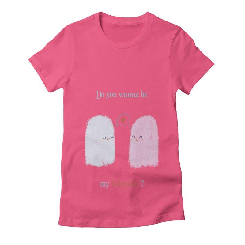Do you wanna be my Valentine? Women's Fitted T-Shirt by Juliana Motzko