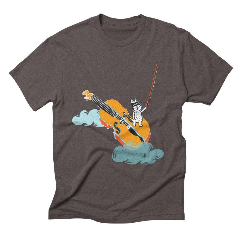 Violin Cat Men's Triblend T-shirt by julianepieper's Artist Shop