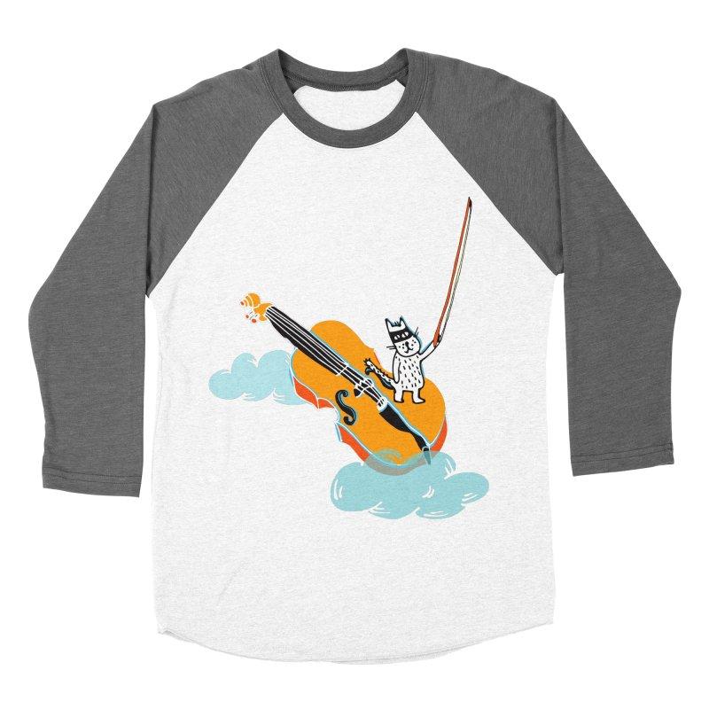 Violin Cat Women's Baseball Triblend T-Shirt by julianepieper's Artist Shop