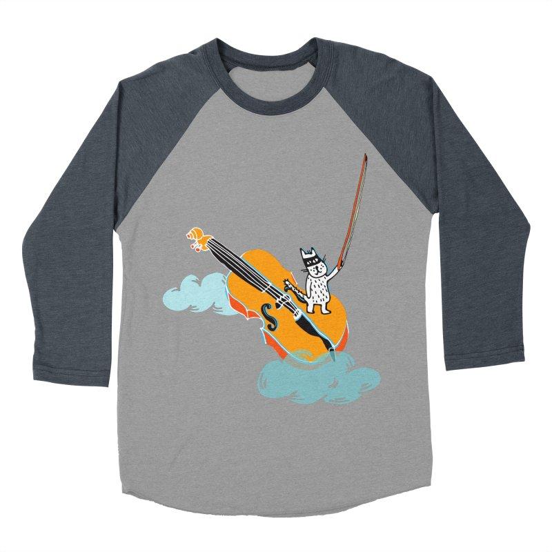 Violin Cat Men's Baseball Triblend T-Shirt by julianepieper's Artist Shop