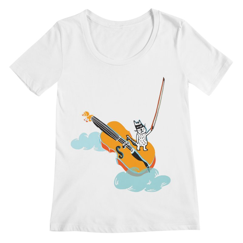 Violin Cat Women's Scoopneck by julianepieper's Artist Shop