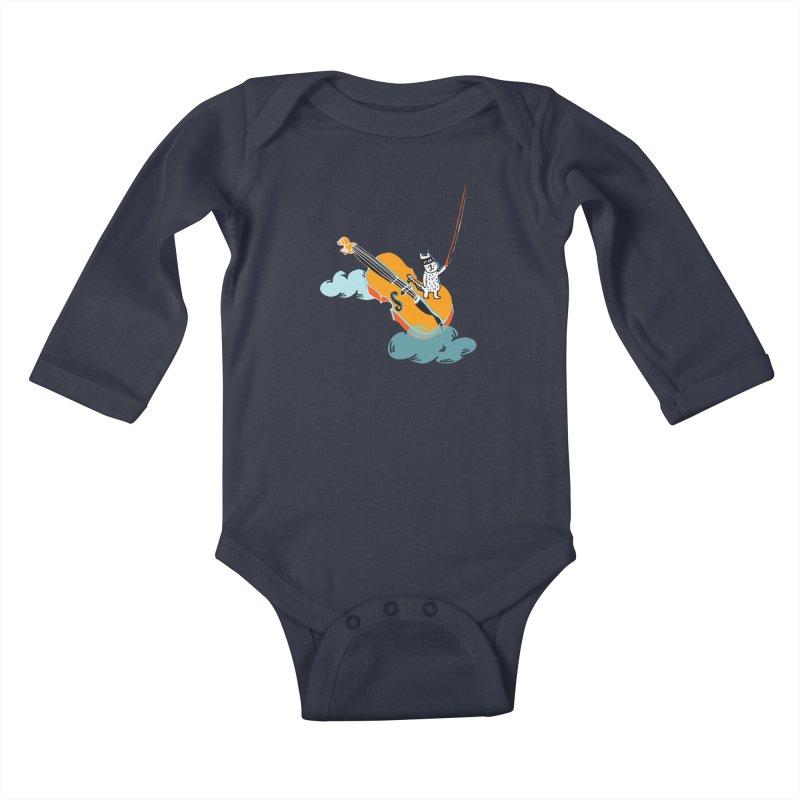 Violin Cat Kids Baby Longsleeve Bodysuit by julianepieper's Artist Shop