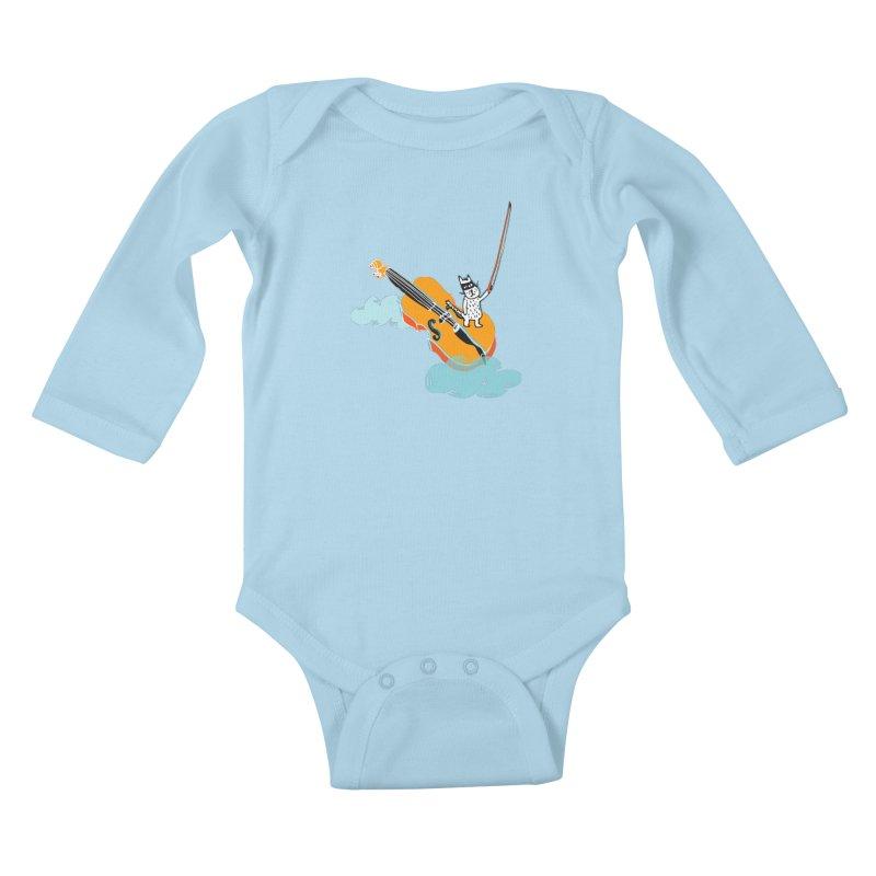 Violin Cat Kids Baby Longsleeve Bodysuit by julianepieper's Artist Shop