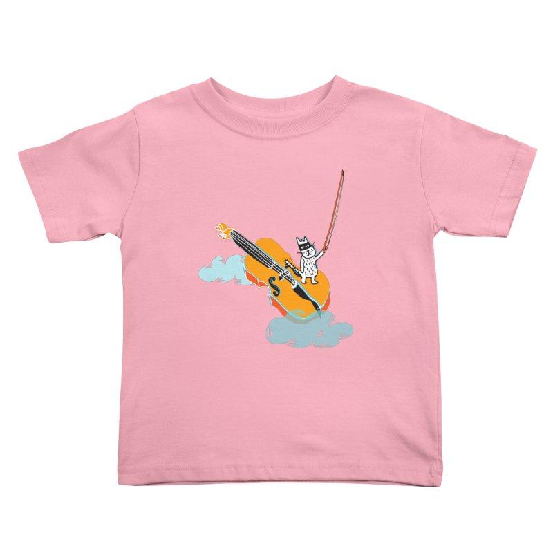 Violin Cat Kids Toddler T-Shirt by julianepieper's Artist Shop