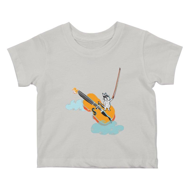 Violin Cat Kids Baby T-Shirt by julianepieper's Artist Shop