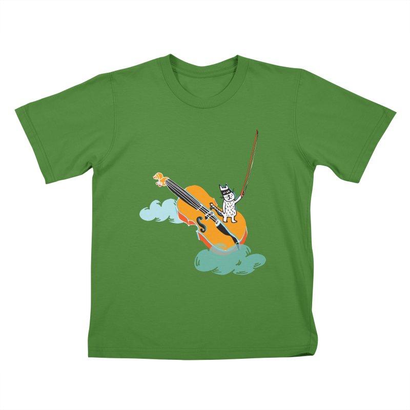 Violin Cat Kids T-shirt by julianepieper's Artist Shop