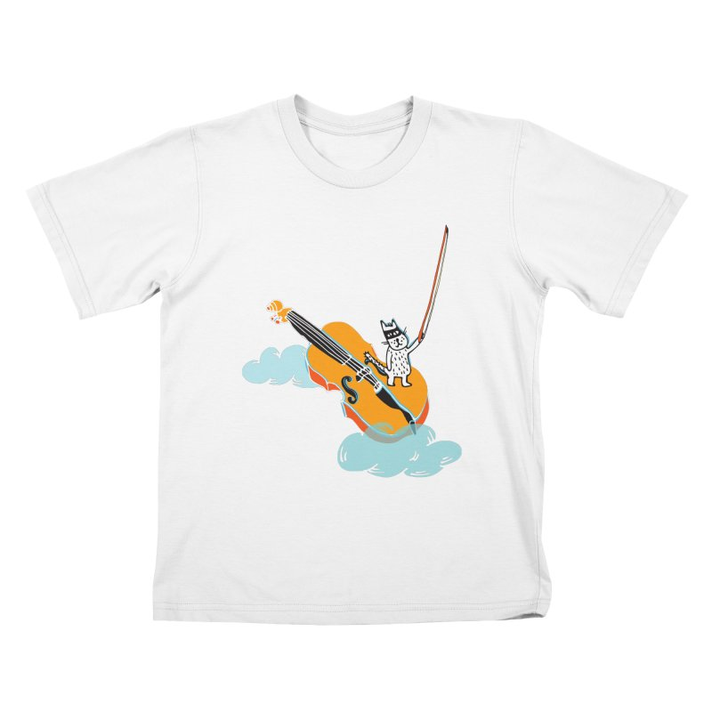 Violin Cat Kids T-Shirt by julianepieper's Artist Shop