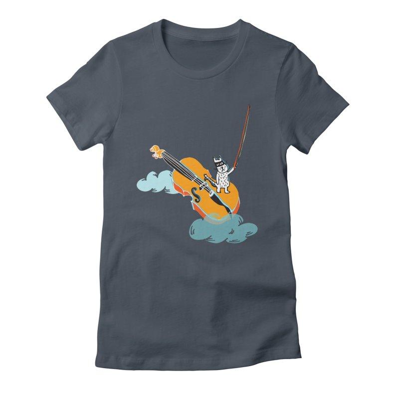 Violin Cat Women's Fitted T-Shirt by julianepieper's Artist Shop